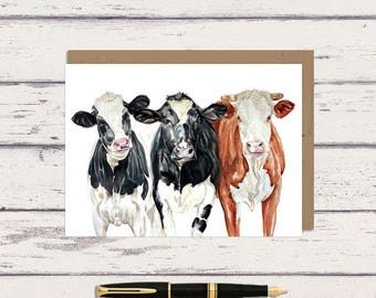 Farm Cows 5 x 7 Watercolor Greeting Card/ A7 Watercolor Greeting Card / 3 Cow / Farmhouse Greeting Card / Cow Art / Cow painting