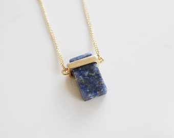 Natural stone Necklace dark blue