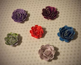 2D Paper Flower Stickers - 50 pack