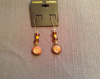 Copper polymer clay dangling earrings  PRICE REDUCED