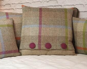 Cushion Cover Abraham Moon Malham Natural Check Wool Green Orange pink Buttons Magenta