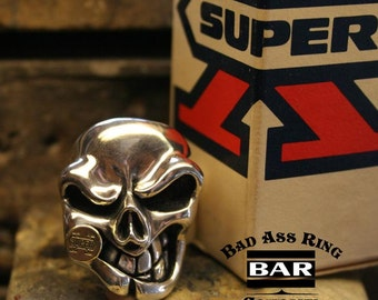 Bad Ass Ring Co. Sterling Silver Skull Ring SINISTER X .935 Argentium Silver - Mens Ring - Skull Ring - Silver Jewelry - Mens Jewelry