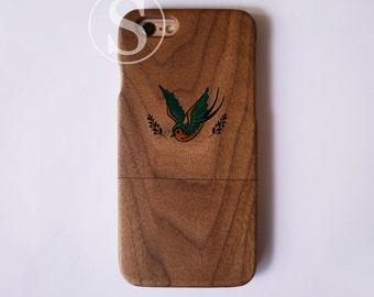Wood iPhone 7 case, Swallow iPhone 7 Plus case, Wood iPhone 6 case, iPhone 6s plus case, Wood iPhone 6s case, Bird iPhone case, SD-46