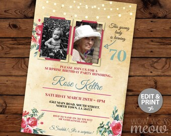 Photo Birthday Invite Surprise Party Invitation INSTANT DOWNLOAD 2 Pictures Womens TWO photos Floral Lights Pink Rustic Editable Printable
