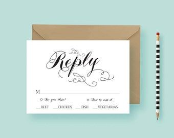 Black and White Wedding Reply Card - Black and White Traditional Response Card - Traditional Simple RSVP