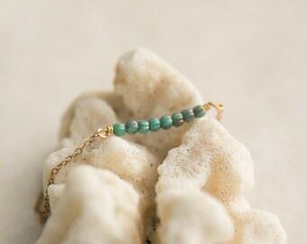Tiny Bead Turquoise Bracelet, summer bracelet, Antique Brass Beaded Bracelet, Gift for Wife, Coworker  Teacher Gift, Turquoise bead bracelet
