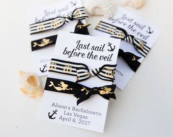 Last Sail Before the Veil Hair Ties, Custom Bachelorette Party Favors, Bridesmaids Gifts, bridal shower, Bachelorette Cruise, Bridal Gifts