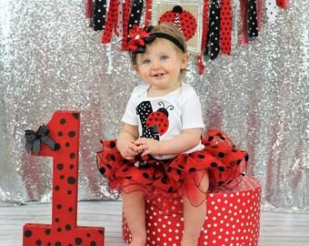 first birthday outfit girl,ladybug birthday outfit,1st birthday girl,first birthday tutu,red black polka dot birthday,cake smash outfit girl