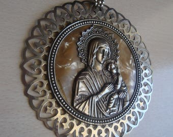Vintage Metal Greek Orthodox Icon Of Virgin Mary Holding Jesus