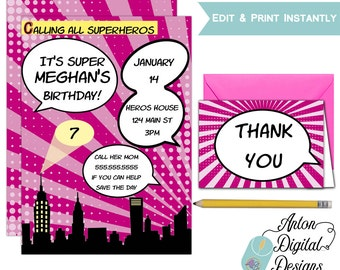 Printable Pink Comic Book Birthday Invitations - Super Hero Birthday Party - Girls Party - Instant Download - Print & Edit at home In Adobe