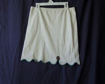 60s Scalloped White and Green Mod Slip Skirt
