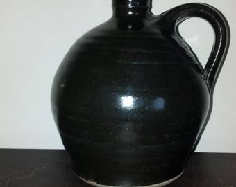 Small Brown Moonshine Jug, Pottery Crock, Handmade Pottery Jug Flower Vase