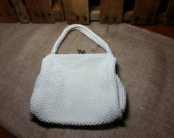 Beaded Ivory Vintage Handbag / Wedding / Easter / Bride / Purse / Bridesmaid / Gift for Her