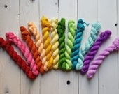 12 Semi Solid Hand Dyed Mini Skeins, 20 grams each, fingering weight sock yarn