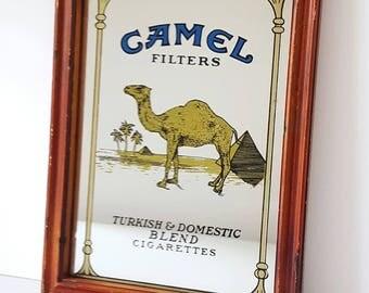 Vintage Camel cigarettes picture mirror, midcentury mirror, 70s retro, pub mirror, vintage advertising, smoking.