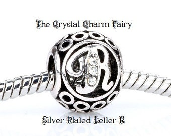 European LETTER R Charm Silver Plated INITIAL with Crystals / Charm Bead Fits Large Hole / Pandora / European / Bracelets / Necklace