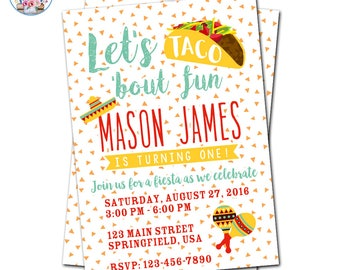 Fiesta Invitation, Taco Party Invitation, Fiesta Birthday Invite, Let's Taco 'Bout Fun