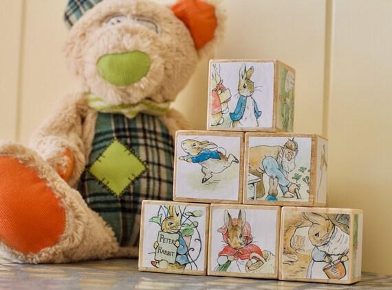 Nursery Decor Wooden Blocks Peter Rabbit Baby Blocks