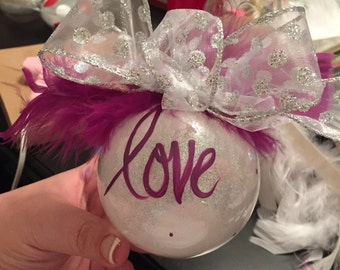 Holiday LOVE Ornament - purple and silver.