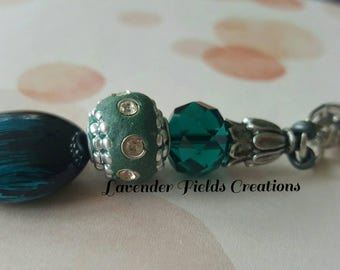 Turquoise Teal and Silver Keychain/Zipper Pull with Rhinestones (20177K)