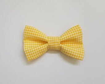 Yellow Gingham Bow Tie, Baby Toddler Boy Clip-on Bow Tie, Custom Bowtie, Baby Shower, Baby Gift, Baby pictures, Formal Wear,Dapper