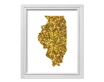 Illinois Map of Illinois State, Illinois Printable, Illinois Wall Art, Gold Illinois Map, Gold Glitter State Map of Illinois Travel
