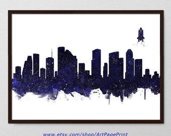 Houston Print Skyline Stars Navy Black Watercolor Painting, Houston Texas Nursery Art, Houston Wall Hanging,  Houston Home Decor (A0562)