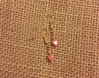 Drop Earrings - Pink Heart Charm