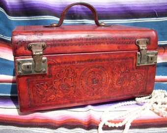 Vintage Red Tooled Leather Train Case