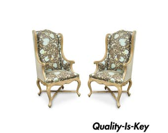 Pair of Hollywood Regency French Country Carved Wing Back Fireside Lounge Chairs