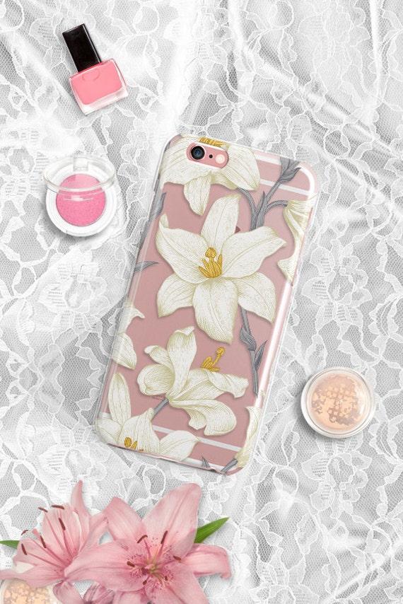 iPhone 7 Lily Rubber Case Lilies iPhone 7 Plus Clear Case iPhone 6 Clear Case iPhone 6S Case iPhone SE Case Rubber Samsung S7 Edge Case