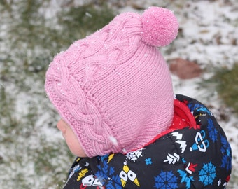 Frost hood toddler knit merino wool hood balaclava hat with neckwarmer, merino balaclava hood hat with collar,  baby hat, scarf, cape