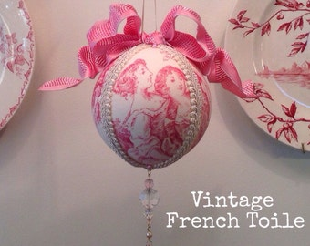 French Country Toile Christmas Ornament - Mother Daughter pink large