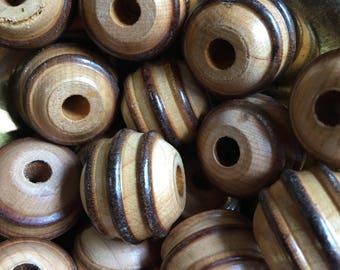 Vintage wooden beads 15 pcs