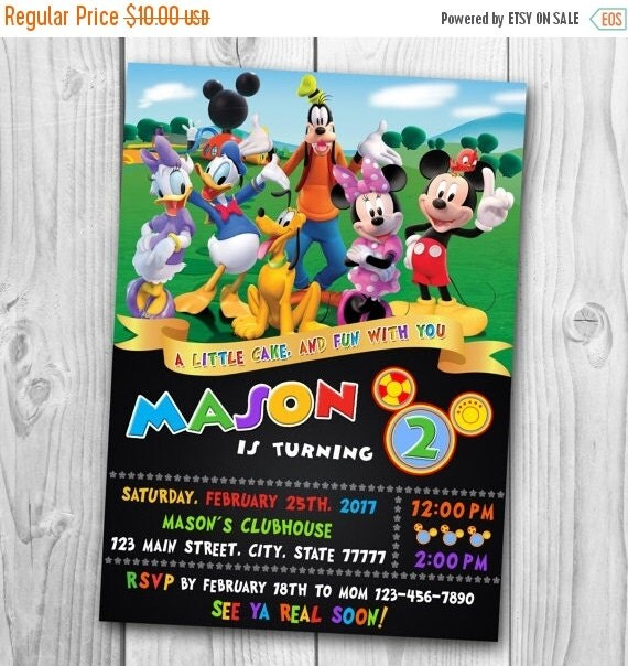 HUGE SELECTION Mickey Mouse Birthday Invitation Invitations Etsy DIGITAL FILE Clubhouse