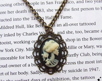 Gothic Skeleton Cameo Necklace - lolita victorian psychobilly cameo with antique gold setting & chain