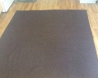 """Vintage, Brown wool blanket, wool crafting, upcycle, car blanket, twin size 66""""x 75"""""""
