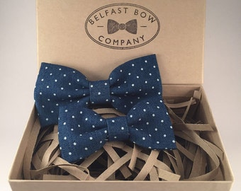 Handmade Father & Son Spotted Denim Bow tie Gift Set
