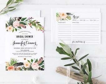 Printable Bridal Shower Invite Set, Bohemian Woodland Bridal Shower Invitation with Recipe Card