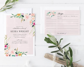 Printable Bridal Shower Invitation Card with Matching Recipe Card, Pastel Flower Peach Pink Flower Botanical Bridal Shower Invitation Card