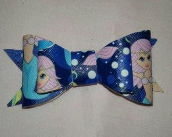 Mermaid Leatherette Hair Bow, Little Girls Hair Clip, Nautical Themed Bows, Fashion Acessories For Kids, Stylish Hair Wear, Bow Hair Clips