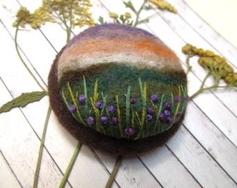 Felted landscape Gift for mom Poppy flower brooch Needle felted brooch Wool pin Felted jewelry Gifts for woman Jewerly gift Mountain jewelry
