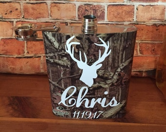 Mossy Oak Camo Flask - great groomsmen gift - personalized mens gift