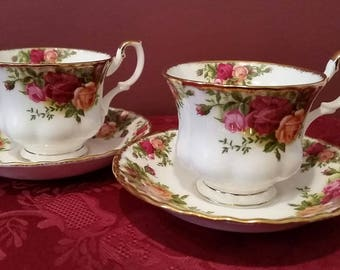Royal Albert, Set of 2, Old Country Roses  back stamped 1962 made in the mid 80's