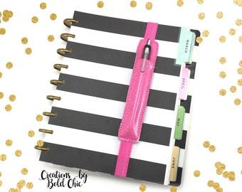 Hot Pink Single Pen Holder - Planner Band - Office supply - Planner Supply