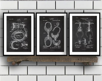 Police Patent Set of THREE, Police Patent Art - Police Art - Police Poster - Police Wall Art - Police Officer, Handcuffs, Police hat SP158