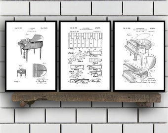 Piano Patents Set of 3 Prints, Piano Prints, Piano Posters, Piano Blueprints, Piano Art, Piano Wall Art, Sp335
