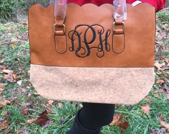 Personalized Monogrammed Faux leather scalloped bag, scalloped tote, scalloped purse, Mothers Day Gift