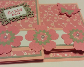 Pink Double Z-fold Get Well Card