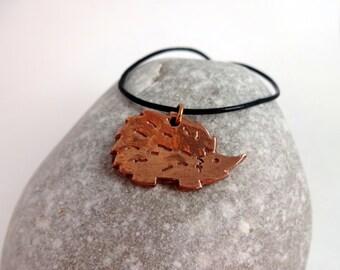 Copper Hedgehog Pendant Necklace, Hedgehog Gifts, Hedgehog Necklace, Hedgehog Jewellery,  Gift for Her, Animal Necklace, Animal Jewellery